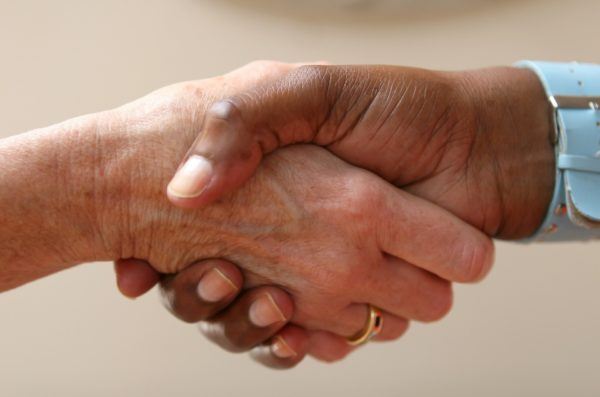 Closeup of a handshake.