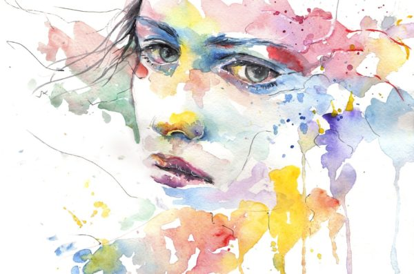 Painting of a woman's face with watercolors dripping off of it.