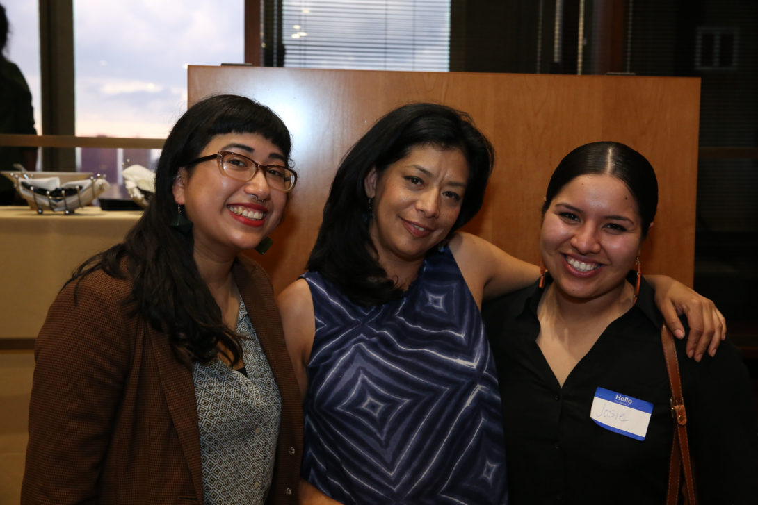 Civic Engagement, Community Service and Community Organizing (CECSCO) Award Honoree Monica Trinidad, Professor Elena Gutiérrez , and Jocelin Zamora stand together at the CECSCO awards ceremony