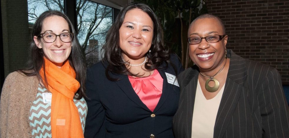2016 Civic Engagement, Community Service and Community Organizing (CECSCO) Award Honorees Andrea Drew, Cindy Ibarra, and Kim Hunt stand together at the CECSCO event.