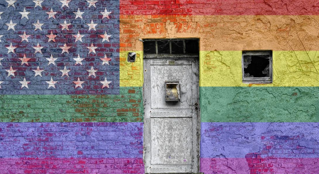 Rainbow Flag Wall with Door in Center
