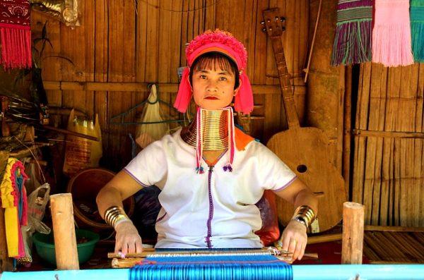 Thai Woman Making Cloth