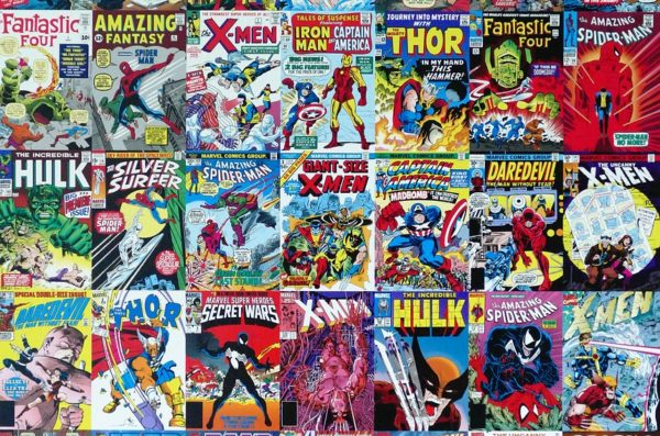 Covers of comic books stacked in rows.