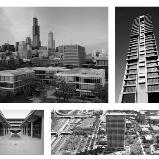 Four pictures of buildings on UIC's East campus