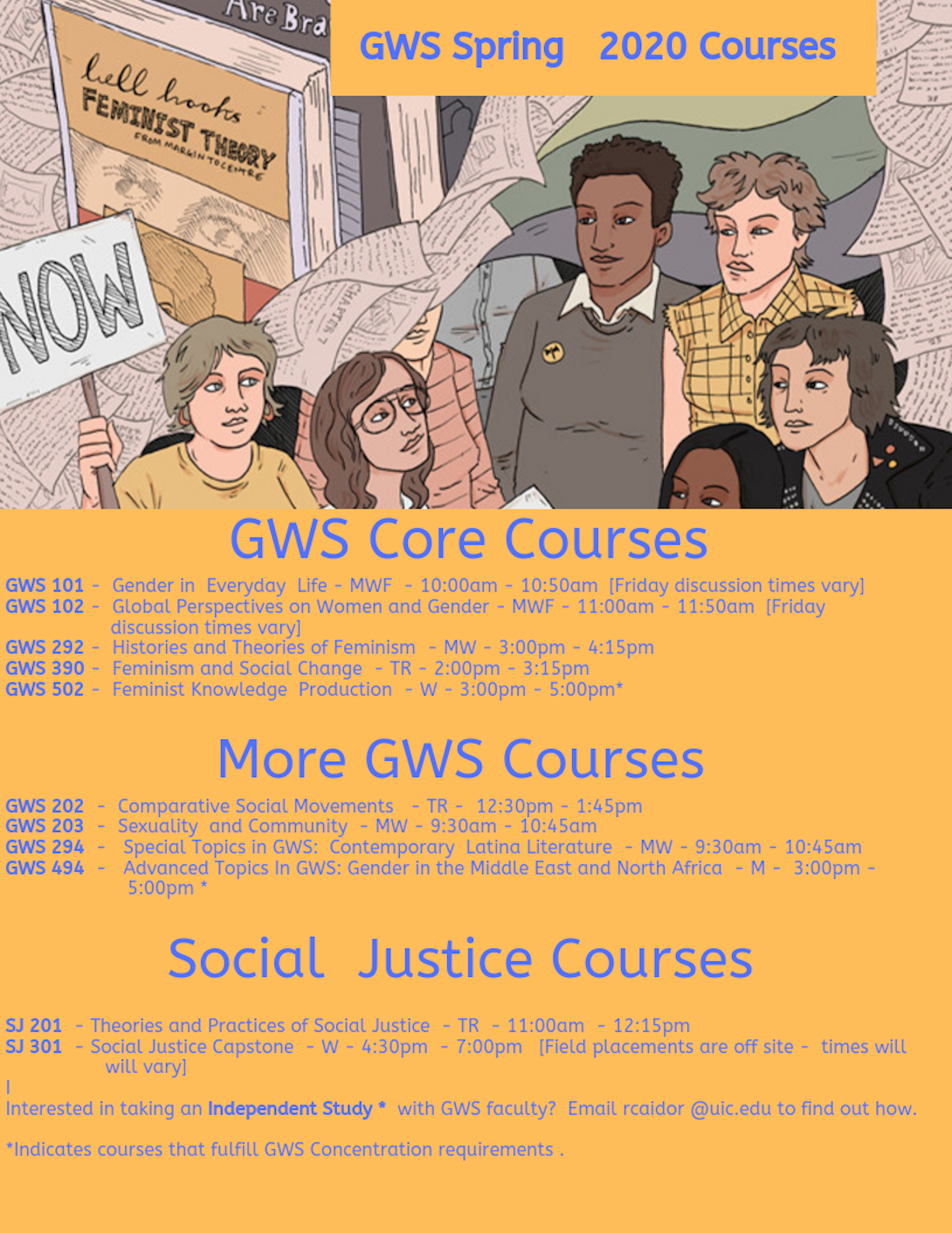 flyer listing spring 2020 gws and sj courses